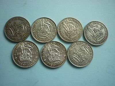 GREAT BRITAIN - DATE RUN OF 7 x GEORGE VI ENGLISH SILVER SHILLINGS 1940-47 INC
