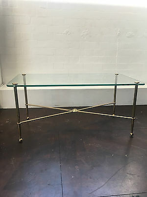 French Hollywood Renaissance style glass and brass table