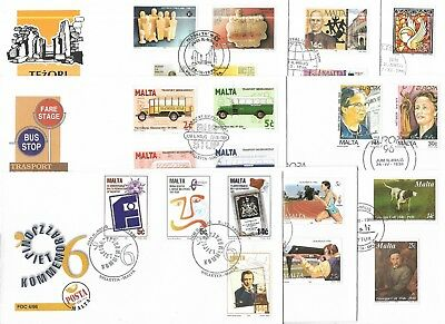 Full Set 1996 Malta First Day Covers Fdc - Transport - Treasures - Olympics Shs.