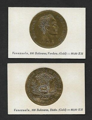 Venezuela Coin Card by Greiling Germany 1929 - 1886 100B Gold THIS IS NOT A COIN
