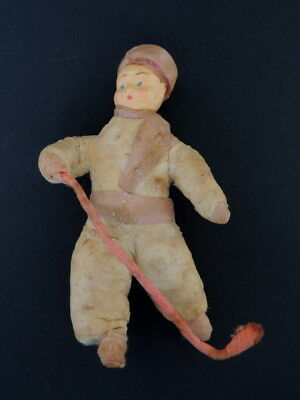 30's Vintage Antique Russian Soviet Paper Mache Christmas Doll Hand Made Toy #
