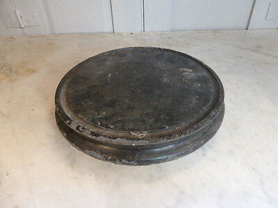 Antique Victorian wooden circular clock dome base display stand plateau