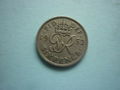 Gt Britain - Scarce Good Collectable George Vi 1952 Sixpence