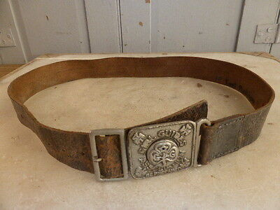 Antique 1930s Girl Guides Association 'Be Prepared' brown leather belt