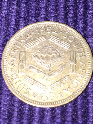 1952 scarce key date South African SIXPENCE - George VI coin