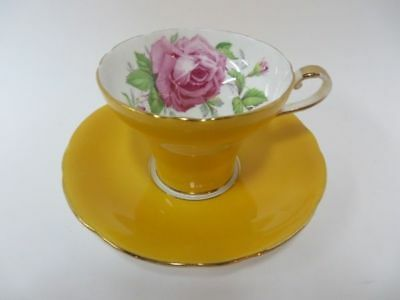 Aynsley Yellow with Pink Cabbage Rose Teacup & Saucer Corset England