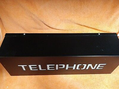 """Lighted Telephone Booth Can Box Hotel Motel Advertising Sign 18"""" X 4.5"""" Electric"""