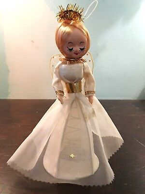 Vintage Christmas Angel Tree Topper Cloth & Metal Made In Japan W/ Org. Label Wo