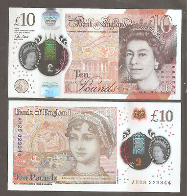 England- New Plastic Jane Austin £10 Banknote, consecutive AH serial numbers.UNC