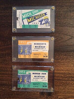 1951 and 1952 Michigan Football ticket stubs