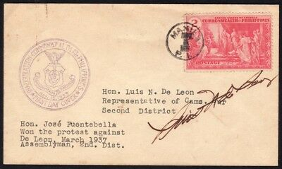 Philippines – 1935 Temple of Human Progress FDC, Signed by Rep. De Leon