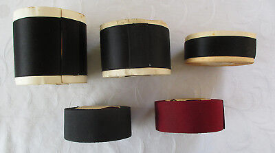 A Lot of 5 Vintage Rolls Rayon of Ribbon Black Sateen Gross Grain French