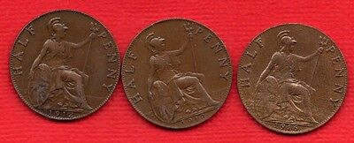 1912, 1913 & 1916 KING GEORGE V HALFPENNY COINS IN LOVELY CONDITION. 3 X 1/2d.
