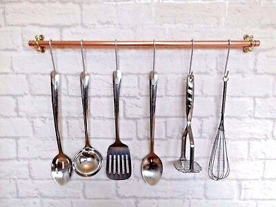 Copper Pipe Kitchen Utensil Rail With 6 Hooks - Industrial Rose Gold