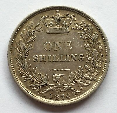 1874 Queen Victoria Silver Shilling Die Number 27 - Great Condition!