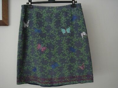 Beautiful designer WHITE STUFF grey green pink skirt size 14 very good condition
