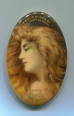 Vintage Pretty Lady Advertising Celluloid Pocket Mirror/Candy
