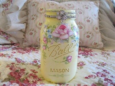 Shabby Chic Hand Painted Roses - Large Ball Mason Jar - Yellow
