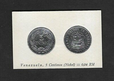 Venezuela Coin Card by Greiling Germany 1929 - 1921 5c Nickel THIS IS NOT A COIN