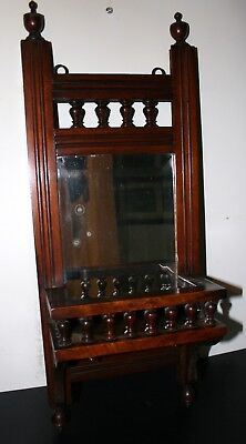 """Small Victorian Wooden Framed Mirror, Distress on Plate, 24"""" x 10"""""""
