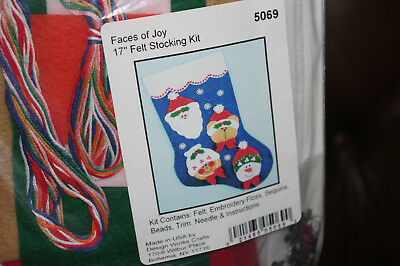 Christmas felt stocking craft kit ( Faces  of Joy )