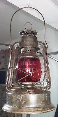 Vintage Antique OLD DIETZ OIL LANTERN Red Globe - Bell Systems Telephone NR