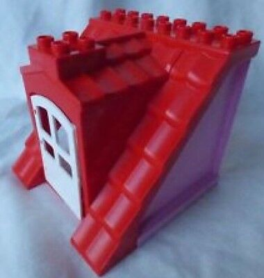 LEGO Duplo Red Sloped Roof & White Window - Pink Sides - From House Set 10505