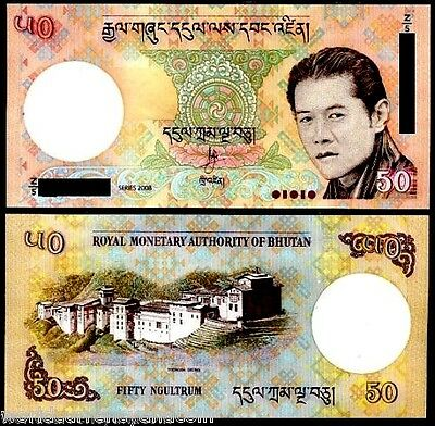 Bhutan 50 Ngultrum P31 2008 Replacement Z/5 Dzong Palace Unc Currency Money Note