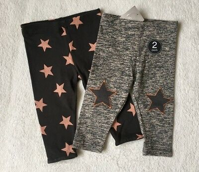 ***BNWT Next baby girl Grey Pink Stars party leggings 2 pack set 6-9 months***