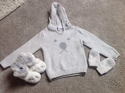 The Little White Company Baby Jumper 6-9 Months, Booties & Mitts 6-12 Months New
