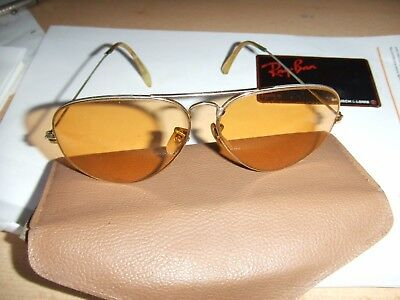 Vintage B&L Ray Ban Ambermatic sunglasses USA etched BL w/decal 62-14
