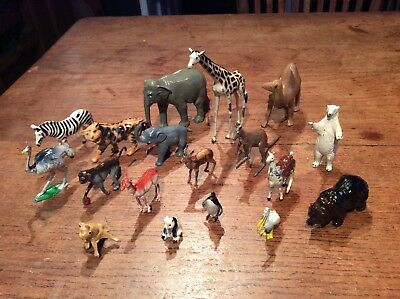 Old Vintage Job Lot Collection Painted Lead Britains Toy Model Farm Zoo Animals