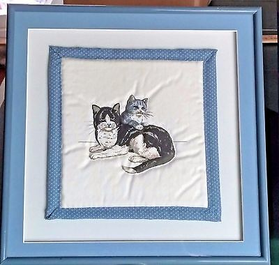 Set of Blue Cat Quilted Matted Professionally Framed Wall Art Kittens Metal Fram