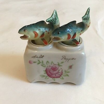 Vintage Salt and Pepper Shakers Fish Patent TT