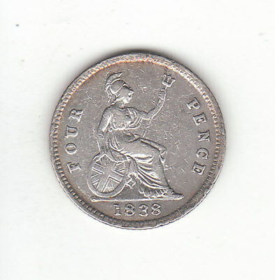 1838 Great Britain Queen Victoria Sterling Silver Fourpence / Groat.