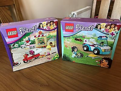 NEW LEGO Friends 41092: Stephanie Pizzeria & Friends 41086: Vet Ambulance Bundle