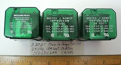 3 Plug-In Relays 3PDT, 24V DC Coils 10 Amps MIDTEX #157-23C2A9, Lot 110 Made USA