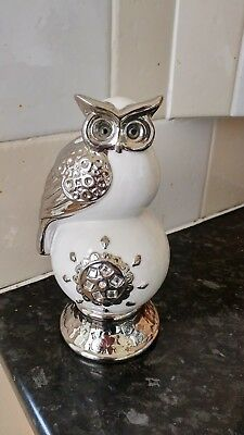 large owl white and silver china figure with crystals