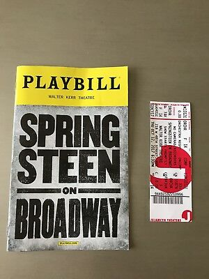 Opening Night Ticket And playbill For Bruce Springsteen On broadway