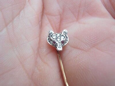 ANTIQUE VICTORIAN 18ct GOLD & SILVER DIAMOND,RUBY EYES FOX HEAD STICK PIN C1895