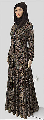 Luxury Lace Jilbab Abaya Fully Lined Open Front Bronze