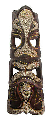 TIKI LARGE MAORI TRIBAL HAND MADE PAINTED WOODEN WALL MASK 50 cm long lampshade