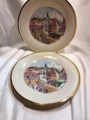 Lenox Holiday Accent Lunch Plate Scenes of Germany Set of 2 Plates New