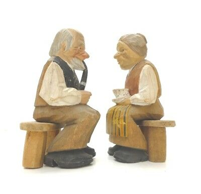 Swedish WOOD CARVING COUPLE - L. LARSSON - CARVED FOLK ART - Sweden