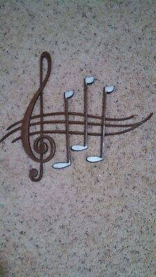 Mid Century Modern Metal Wall Plaque Sexton Usa Musical Notes