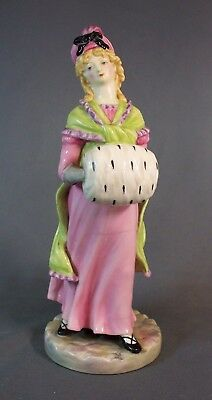 """Royal Worcester """"lady With Muff"""" 1016 Figure 7 1/2"""" Tall"""