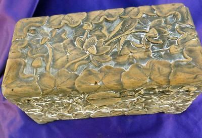 """Antique Chinese Lotus Flowers Carved Wood Box 10.5"""" x 5-1/4"""" x 4-3/4"""""""