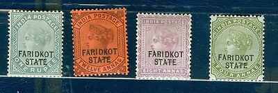 India Faridkot 1887 Rupee 12A 8A And 4A