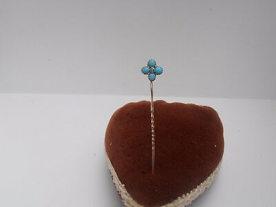 SUPERB ANTIQUE VICTORIAN 9ct GOLD TURQUOISE STICK PIN C1895