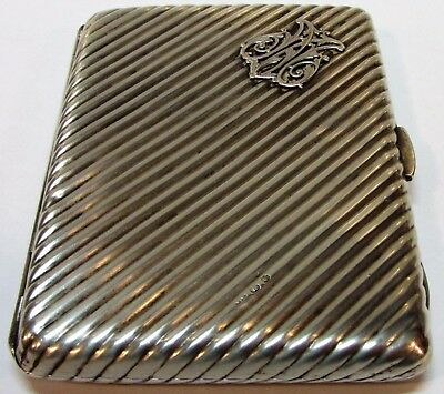 S/Silver Ribbed Case by Colen Hewer Cheshire 1896 in Birmingham Stunning Pattern